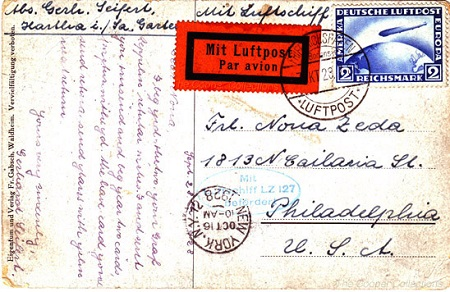 "German post card from the ""First North American Flight"".  Source: The Cooper. Collection of Zeppelin Postal History"