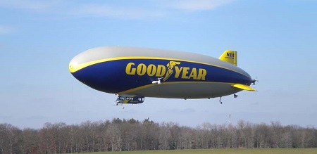 Goodyear's N1A, the new airship christened Wingfoot One begins its flight with its new registration. Photo: Neal Sausen