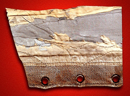 A portion of the damaged fabric covering removed from the Graf Zeppelin in October 1928, after its first transatlantic flight from Germany to NAS Lakehurst, New Jersey.  Source: The Cooper Collection of Zeppelin Postal History