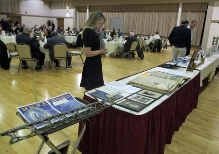 Sarah Wolf admires some of the lighter-than-air memorabilia on display at the banquet.