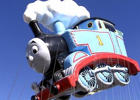 This Thomas The Tank Engine float went on a test run ahead of the Macy's Thanksgiving Day Parade. Image: Courtesy CBS2 New York