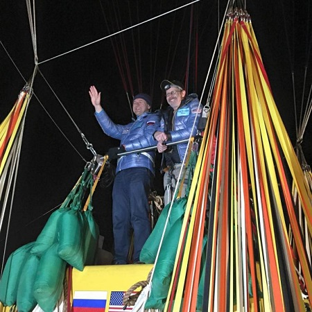 Pilots Leonid Tiukhtyaev of Russia, left, and Troy Bradley of Albuquerque are shown in Saga, Japan, where their Two Eagles balloon lifted off on Sunday.  Photo courtesy of Tami Bradley