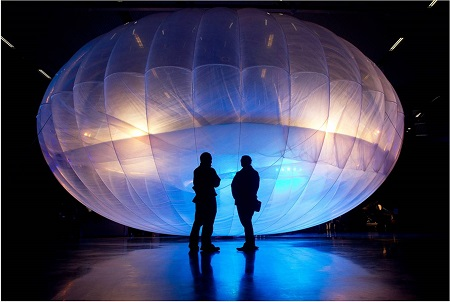 High flyers: the Google Project Loon balloon is a high altitude WiFi internet hub