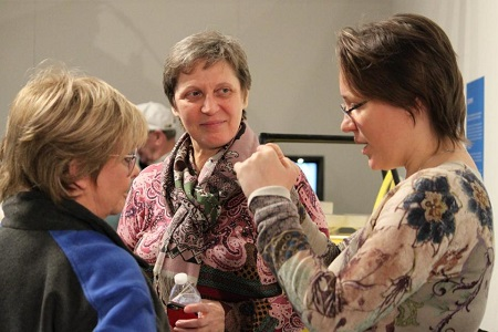 Irina Tiukhtyaev, center, and Margarita Shmidt, right, the wife and daughter of Russian balloon pilot Leonid Tiukhtyaev, discuss the landing of the Two Eagles Balloon after monitoring the final moments of the flight at mission control in Albuquerque, N.M., on Saturday, Jan. 31, 2015. Tiukhtyaev and fellow pilot Troy Bradley landed after crossing the Pacific Ocean and surpassing a pair of major ballooning records.  Photo: AP/Susan Montoya Bryan