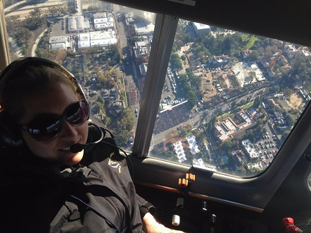 Goodyear pilot Kristen Arambula over the Rose Parade on January 1, 2015. Source: insidesocal.com