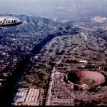 The Goodyear blimp at the 1984 Rose Bowl game