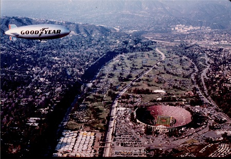 The Goodyear blimp at the 1984 Rose Bowl game between UCLA and Illinois University. Source: insidesocal.com