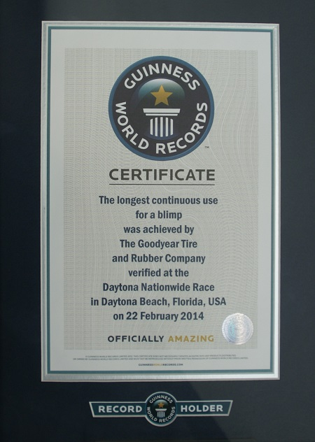 """The Guinness Book of World Records© certificate for the """"Longest Continuous Use for a Blimp"""" was also on display. Photo: Alvaro Bellon"""