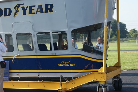 The Spirit of Goodyear gondola on display at the christening ceremony of Goodyear's new blimp, Wingfoot One, on August 23, 2014. Photo courtesy of Alvaro Bellon