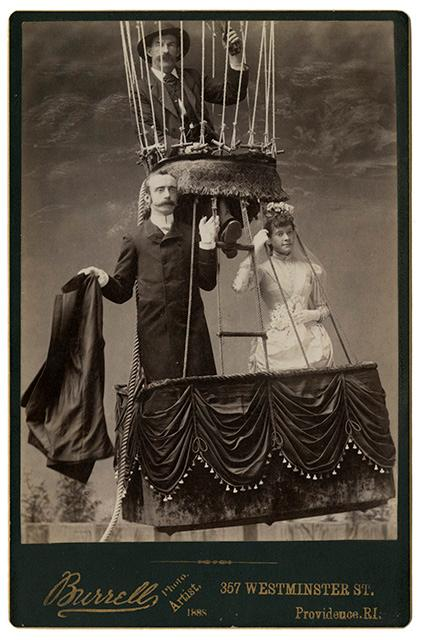 Aeronaut James Allen, with bride and groom, reenact in a photographer's studio the wedding that took place at the Providence, Rhode Island State Fair Grounds on September 27, 1888.  Courtesy: NASM