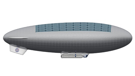 Side View of a Manned HAVOC Airship.  Side view of a manned HAVOC airship. Solar panels cover much of the vehicle's top, while under its belly are a gondola, human habitat and rocket that would take astronauts back up to Venus. Credit: Advanced Concepts Lab at NASA Langley Research Center