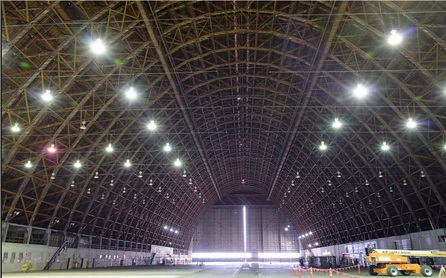 The interior of Hangar 2 at Moffett Field. On Wednesday, April 1, 2015, Google will formally take over control of all three of the historic former airship hangars and begin the process of renovating them to repurpose them as technology development centers.  Photo: Dominic Hart/NASA Ames.