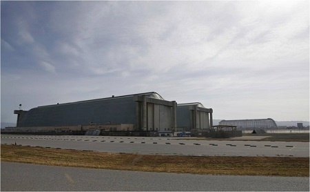 From left to right, Hangar Three, Hangar Two and Hangar One looking west at Moffett Field. Photo: Nhat V. Meyer/Bay Area News Group.