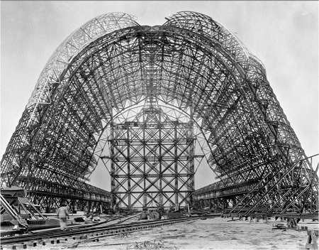 In this photograph circa 1931-1933, Moffett Field's Hanger One stands partially constructed in Mountain View, California.  Photo: Moffett Field Historical Society via Bloomberg News.