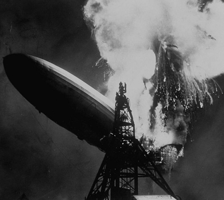 Charlie Hoff photograph of the Hindenburg exploding. Courtesy of the New York Daily News