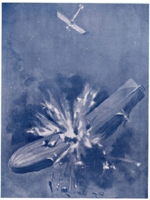 An Allied aviator drops a bomb on an airship, completely destroying it, in this painting from 1915 based on events. Image: Scientific American, June 26, 1915