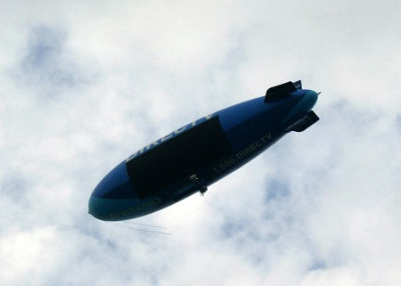 The DirecTV Blimp flying towards Cleveland, Ohio.