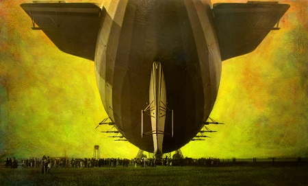 Tail view of Airship Akron at Moffett Field 1932, Hangar One under Construction, Stacey M. Carter, 2014 Courtesy of New Museum Los Gatos