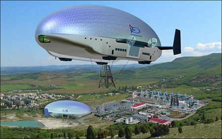 Oil and gas operators in the Far East have expressed an interest in using the 21st century hybrid blimp to carry payloads and ferry personnel around.  Pictures: Augur RosAeroSystems