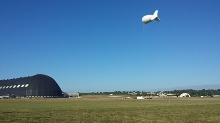 The Aerostat during a tethered flight near the Akron Airdock. Photo: © Ron Syroid