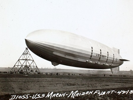 The USS Macon's maiden flight. Photo: San Diego Air and Space Museum