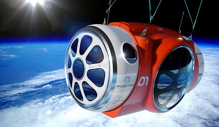 Artist's illustration of World View's balloon-borne passenger capsule in the stratosphere. Credit: World View Enterprises, Inc.