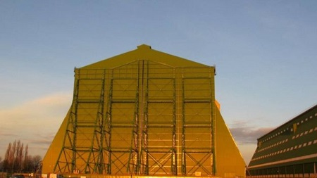 Cardington's hangars were built for Britain's early 20th Century airships.  Image courtesy of BBC/Hybrid Air Vehicles.