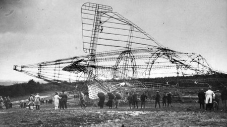 But when it crashed on its maiden voyage at Beauvais in France, killing 48 of the 56 crew and passengers, the airship-building program ended.  Image courtesy of BBC/Getty Images.