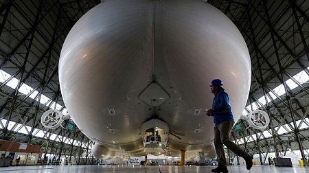 "Posterior – Unkind observers have nicknamed Airlander the ""flying bum,"" claiming it looks like a human posterior. Source: CNN"