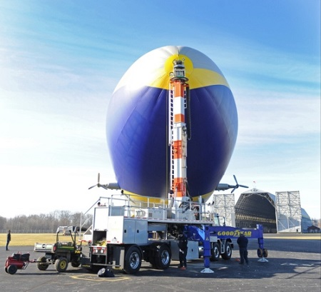 Goodyear's second new technology airship docks at the mast truck as before a flight test. Photo: David Dermer - Akron Beacon Journal.