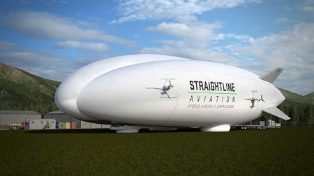 Straightline Aviation (SLA) signed a letter of intent to purchase up to 12 Lockheed Martin Hybrid Airships, which provide affordable and safe delivery of cargo and personnel to virtually anywhere - on water or land. Hybrids were designed to enable a more sustainable future.  Image: PRNewsFoto/Lockheed Martin
