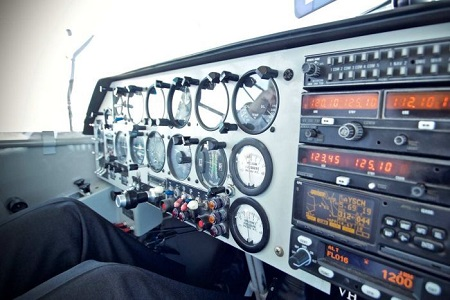 The control panel of the blimp. Photo: Corey Hague
