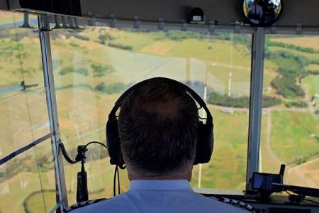 Mark Finney is the chief pilot of the Legend Blimp. Photo: Corey Hague