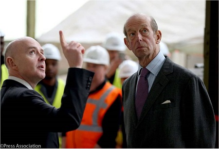 The Duke of Kent listens as Philip Gwyn explains one of the aspects of the Airlander. Source: British Monarcy Twitter Account.