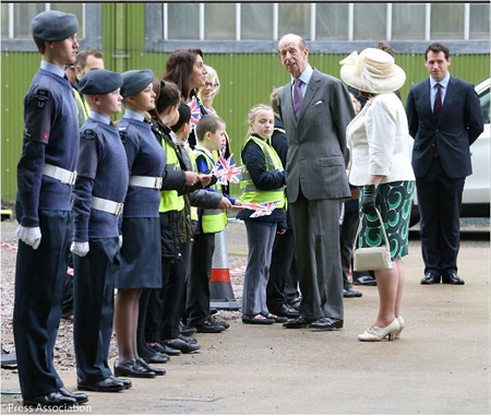 A Guard of Honor meets the Duke of Kent at the Cardington Shed. Source: British Monarchy Twitter Account.