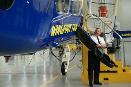 Jerry Hissem, Goodyear Pilot-in-Charge, unveils the name of the new airship. Photo © Alvaro Bellon