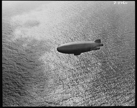 A U.S. Navy blimp cruises over the Atlantic in 1943. Photo: Library of Congress