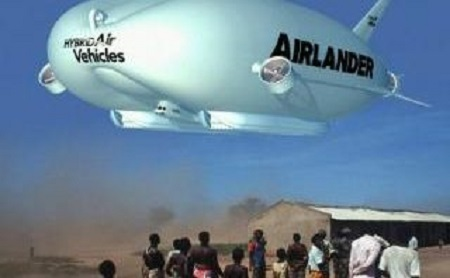 The Airlander has the ability to land anywhere and does not need airstrips. Credit: HAV
