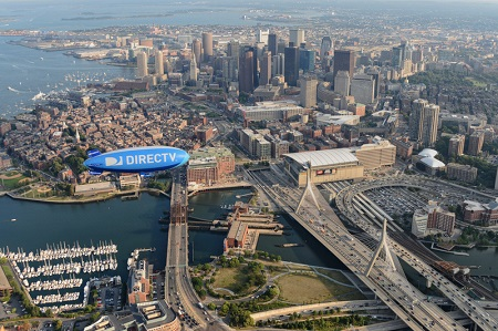The DirectTV Blimp beats the traffic over Boston. Photo: Van Wagner Airship Group