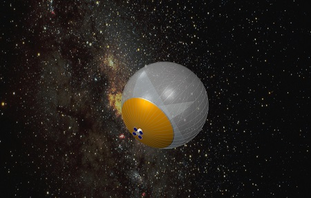 A preliminary illustration of a 20-30 meter telescope, the space-based Large Balloon Reflector called the TeraHertz Space Telescope (TST) for probing the evolution of the universe through cosmic time. Image courtesy Christopher Walker.
