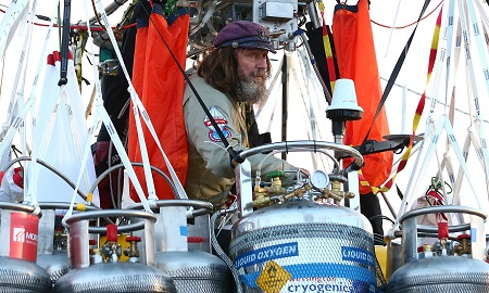 Fedor Konyukhov prepares for lift-off from Northam, Australia on Tuesday. The 65-year-old Russian adventurer aims to circumnavigate the globe, beating the previous record of 13 days set by American Steve Fossett in 2002.  Photograph: Paul Kane/Getty Images
