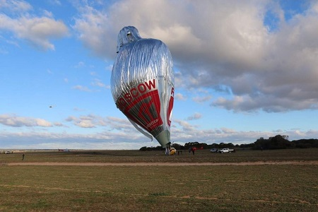 Konyukhov landed the hot air balloon near the small town of Bonnie Rock on Saturday afternoon. Photo: Briana Shepherd - ABC News