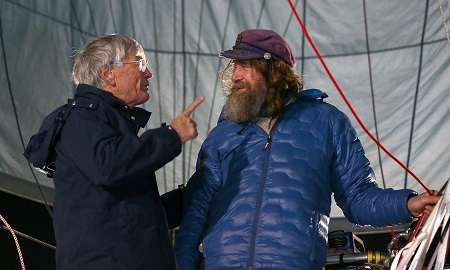 Dick Smith and Fedor Konyukhov talk before the Russian adventurer launches his hot-air balloon. Photograph: Paul Kane/Getty Images