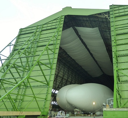The giant aircraft, which is the largest in the world, is due to leave its enormous First World War hangar in Bedfordshire for the first time since having its engines fitted. Source: Daily Mail