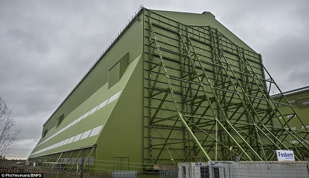 The Airlander's base at Cardington s the historic home of the Royal Airship Works, set up in 1919 to build R101 airships. Source: Daily Mail