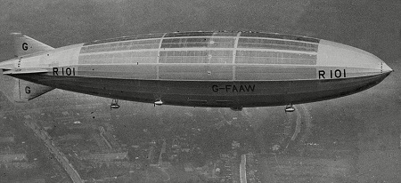The R101 was built by British authorities as a challenge to Germany's Zeppelin program. Source: Daily Mail
