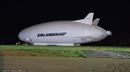 The world's largest aircraft made its first journey at 4am today. Originally known as the Airlander 10, it was christened Martha Gwyn in March, in honour of the wife of the company's chairman. Image: Daily Mail/Hybrid Air Vehicles SWNS.com.