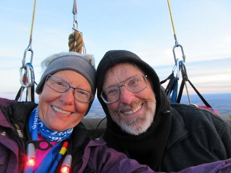 A bundled up Barbara Fricke and Peter Cuneo pose for a selfie in their balloon, Foxtrot Charlie, Saturday while competing in the America's Challenge Gas Balloon Race. They won the event after flying 866 miles and being aloft for more than 54 hours. Photo: abqjournal.com, courtesy of Peter Cuneo and Barbara Fricke